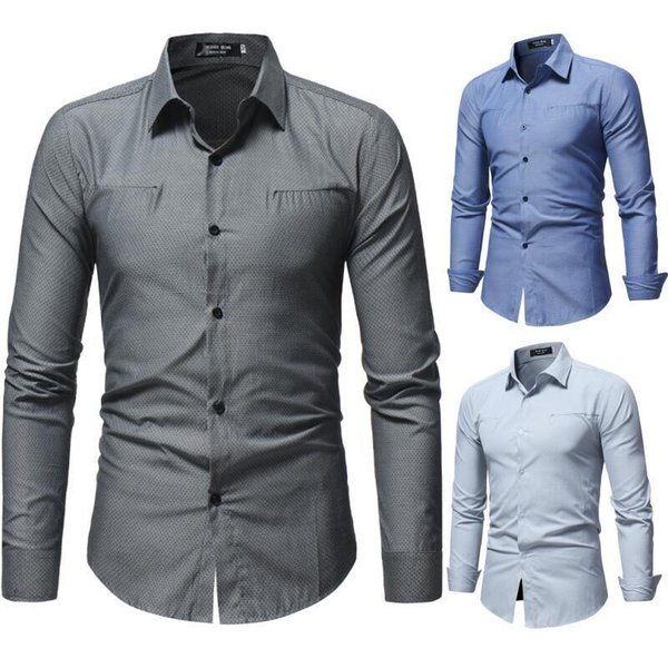 Pop2019 Foreign Trade Men's Wear Product Cheve Ron Dark Lines Solid Color Man Cool Time Long Sleeve Shirt 3342