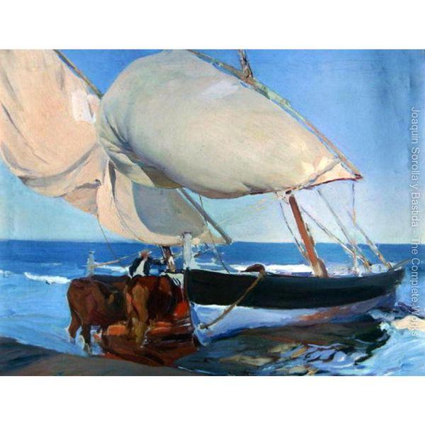 Barcos à vela por Joaquin Sorolla y Bastida pinturas a óleo sobre tela pintado à mão de alta qualidade