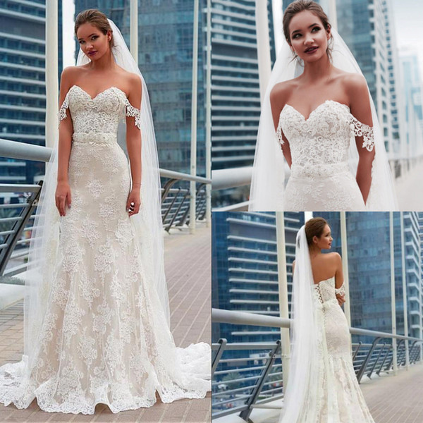 Elegant Lace Off Shoulders Beach Garden Wedding Dresses Mermaid Appliques Modest Bridal Gowns Sexy Beaded Sash Corset Back Cheap Country