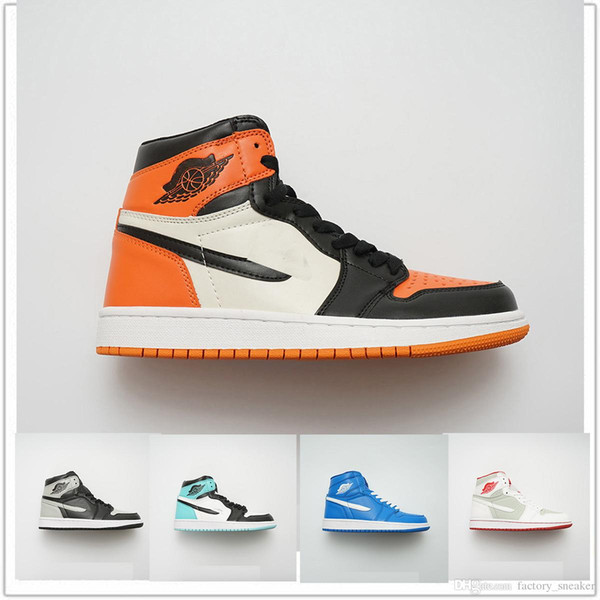 2018 Nuevo Top 3 AJ 1 Retro OG High Mid Basketball Shoes Negro Toe Storm Blue Prohibido Space Jam Tamaño de vuelo US5.5-13