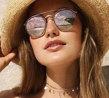 Fashion Round Sunglasses Double Bridge Metal Frame Women Men Brand Designer Sun Glasses Family Eyeglasses for Ladies UV400 Shades with cases