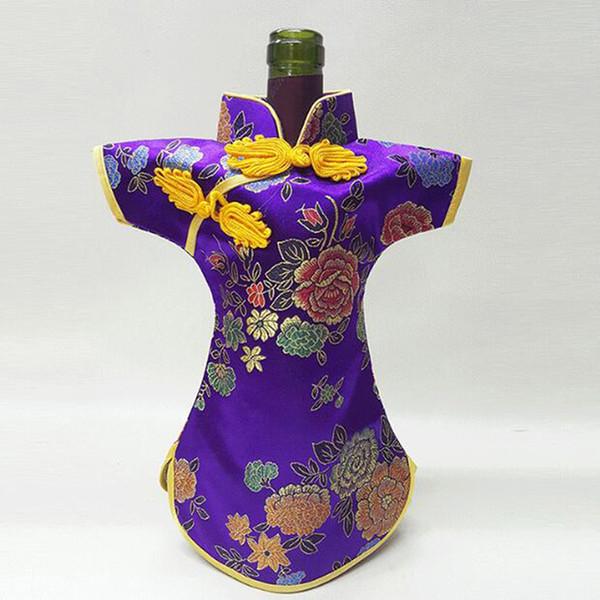 50PCS 럭셔리 Cheongsam 와인 병 가방 커버 병 포장 선물 가방 중국어 실크 브로케이드 테이블 장식 와인 옷