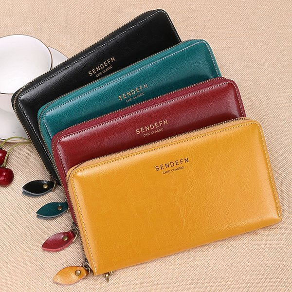 Women European and American style long RFID anti-degaussing leather ladies wallet large capacity wax oil leather multi-card mobile cell bag