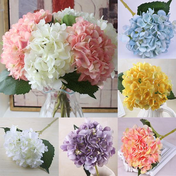 Искусственные Цветы Гортензии Цветок Головы Поддельные Шелковые Одноместный Real Touch Гортензии 18 Цветов для Украшения Свадьбы WX9-1255