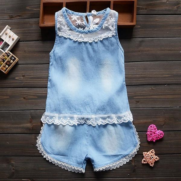 Buena calidad 2016 niños pequeños niños del verano ropa de los bebés conjuntos de encaje 2 unids niñas conjunto de ropa de verano niños flor conjunto chándal