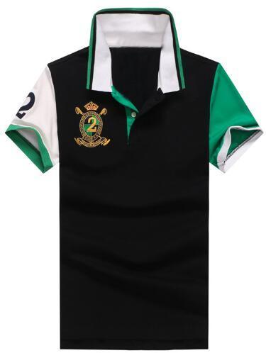 Compras Camisas casuales de polo para hombre Polos patchwork de algodón para hombres con cuello de poni grande Número 2 Tops Verde negro