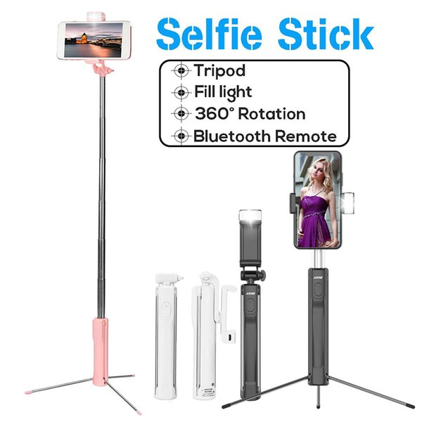 80/110/150cm Handheld Extendable Selfie Stick Tripod Monopod with bluetooth Remote Shutter Led Fill Light for iPhone IOS Android