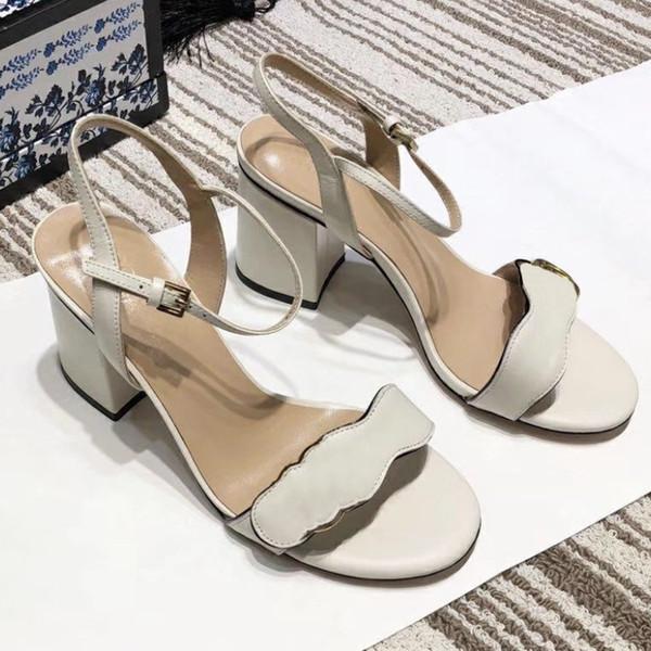 Luxus Chunky Heel Sandale Damen Designer Leder Sandale High Heel Mid-Heel 7-11cm Sexy Schuhe mit Double gold-10 Farben getönt