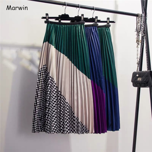 Primavera New-Coming Europen Color Matching Plaid Falda plisada High Street Style Mid-Calf Empire Striped Women Skirts