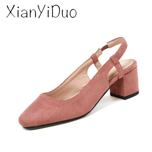 Xianyiduo 2019 new flock Summer Women's shoes pink Slippers closed toe Middle Heel large size 34-46 us 13 /h122