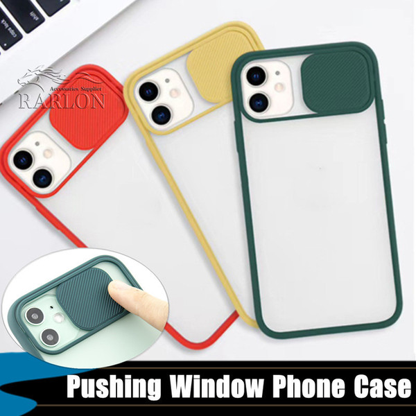 top popular New Frosted Translucent Shockproof Lens Slide Phone Cover For iPhone 11 pro Max XR SE 2020 8 7 Plus 6s Slide Camera Hard Case 2020