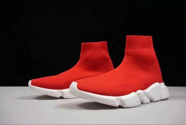 Latest Arrival Top Level Designer Shoes Speed Trainer Black Red Mr Porter Triple Black Flat Fashion Socks Boots Sneaker Speed Trainer