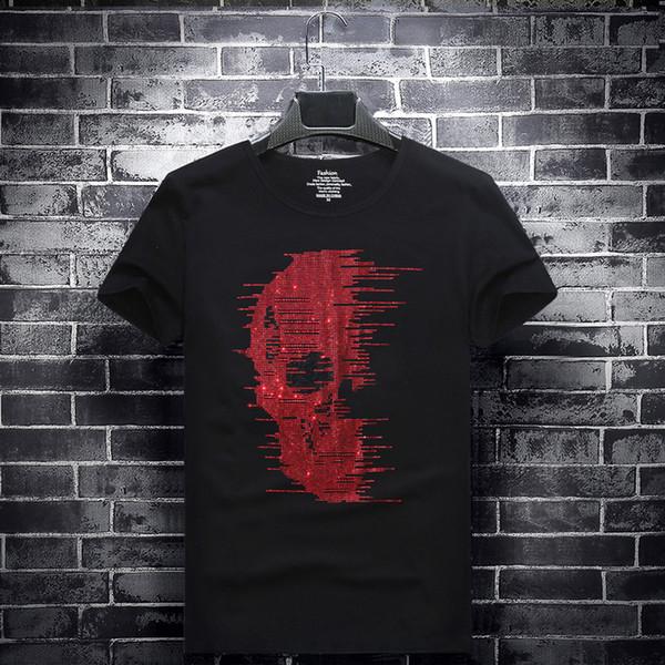 mens magliette del progettista maglietta vestiti di marca marea bianca caldo di perforazione T-shirt a maniche corte girocollo da uomo a maniche corte sociale 6XL jm24