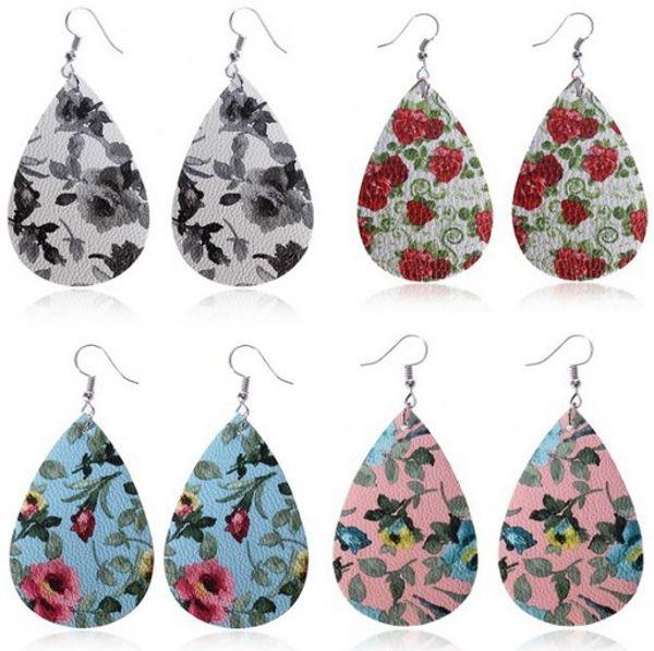7 Color Wings Teardrop Leather Earrings Petal Drop Earrings Antique Lightweight Leather Earrings for Women Girls