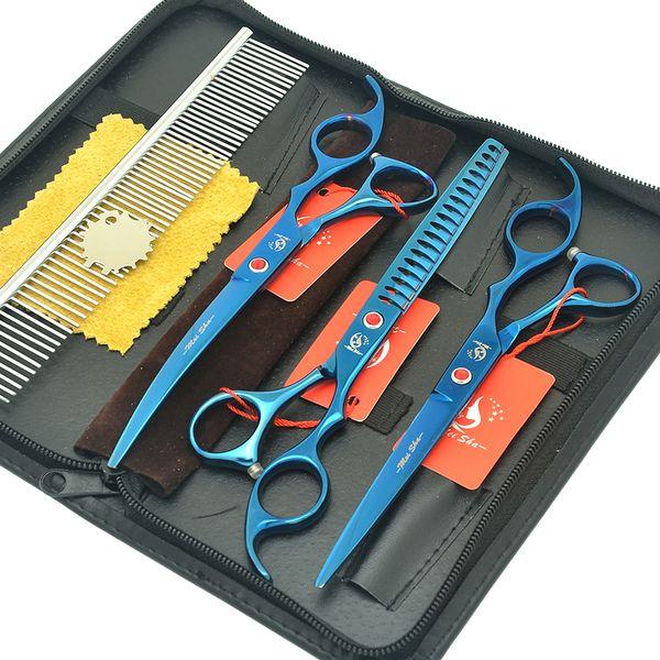 "Meisha 7.0"" Professional Pet Hair Trimming Tools Set Fish Bone Thinning Scissors Dogs Curved Cutting Shears Pet Supplies HB0232"