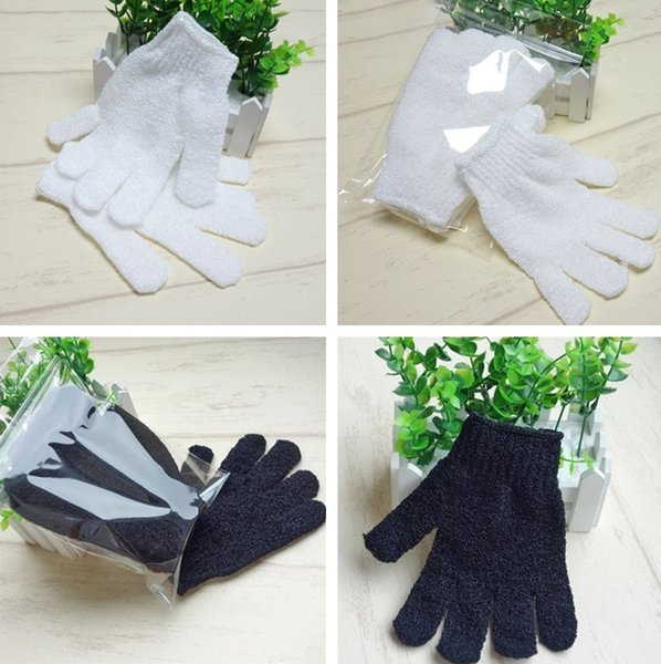 Hot white/ Black Nylon Body Cleaning Shower Gloves Exfoliating Bath Glove Five Fingers Bath Bathroom Gloves Home Supplies T2I337