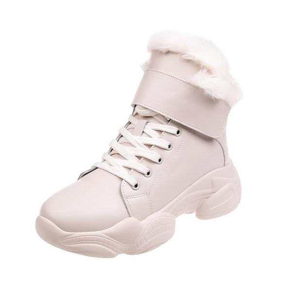 Yeni Kış Boots Yuvarlak Burun Bilek Boots For Women Yün Kadın Ayakkabı Kürk Yeni Beyaz Kar Kürk Peluş Sıcak Bilek