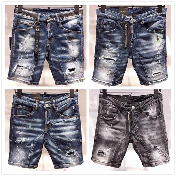 Imagen Real Italia ICON Hombres D2 Ripped Jeans Moda Motociclista Biker Short Jean Pantalones de mezclilla Casual Streetwear Agujero Estilo Shorts Jeans