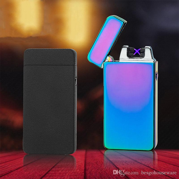 top popular USB Charging Electronic Cigarette Lighter Double Fire Cross Twin Arc Pulse Electric Lighter Metal Portable Windproof Lighters BH1899 TQQ 2021
