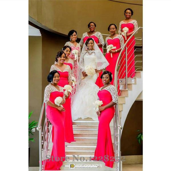 damigella d'onore in pizzo bianco e rosso vestito da damigella d'onore Scollo a V drappeggiato lungo del partito del vestito più i sirena Abiti per damigelle