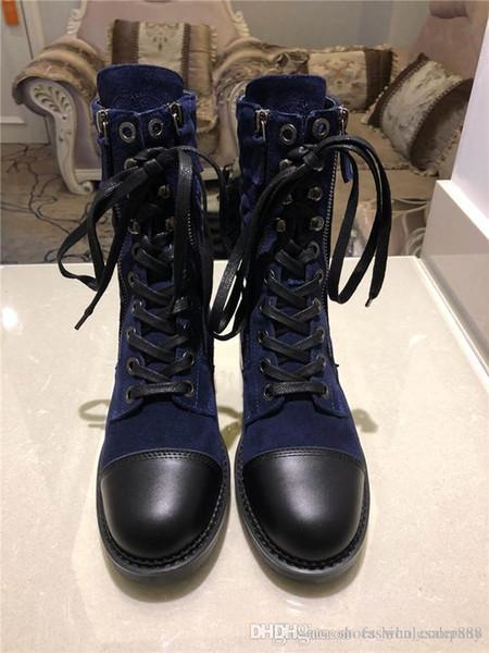 2019 Izgara çizgileri sonbaharda ve kışın basitlik İnce moda dana ayak bileği botları Antiskid ve Aşınmaya Dayanıklı Kauçuk Alt Eşleştirme Kutusu