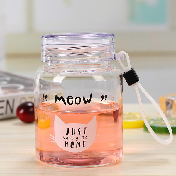 7f8596bd17 350ML Mini Wide Mouth Glass Water Bottle Cute Cartoon Pattern Drinking  Container Travel Mug With Rope