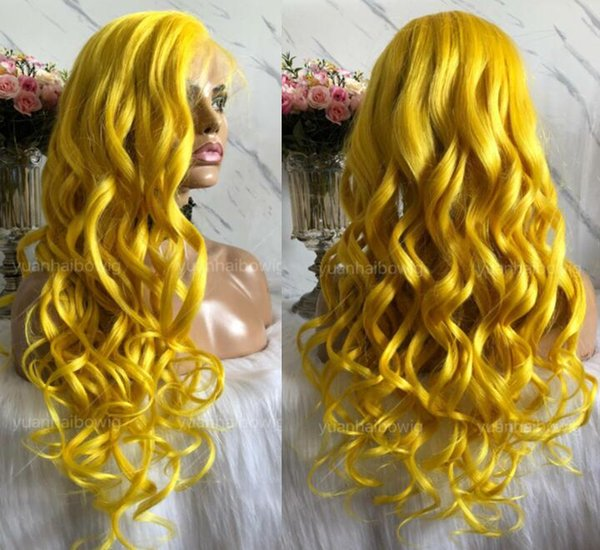 Yellow Full Lace Wig High Quality Virgin Chinese Human Hair Color Lace Wigs Celebrity Wig Loose Wave Front Lace Wigs Free Shipping