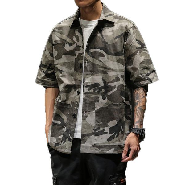 2019 Camouflage Hommes Chemise À Manches Courtes Casual Slim Fit Streetwear Hommes Chemise Homme Camo Robe Mâle Tactique Cargo Chemises 5XL