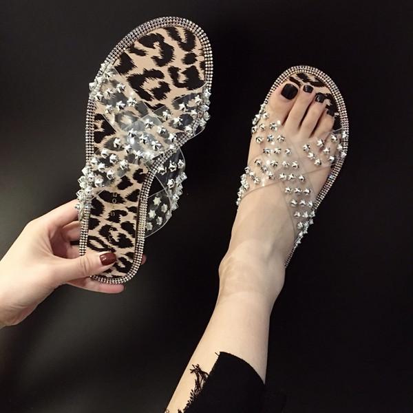 Crystal2019 другая женщина тапочки одежда одно слово перетащить Фея сандалии лаконичный прозрачный жемчуг Женская обувь