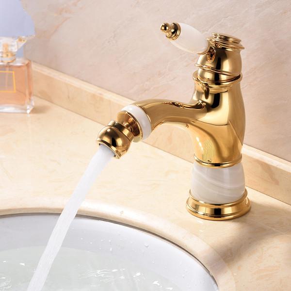 top popular Singe hole bathroom jade-stone bidet faucet mixer tap Gold Finish single handle deck mounted 2021