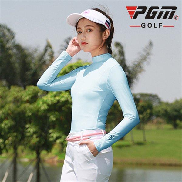 top popular Outdoor Sun Protection Shirt Pgm Womens Summer Ice Silk Underwear Golf Sunscreen Uv T-Shirts Long Sleeve Golf Apparel D0351 2019