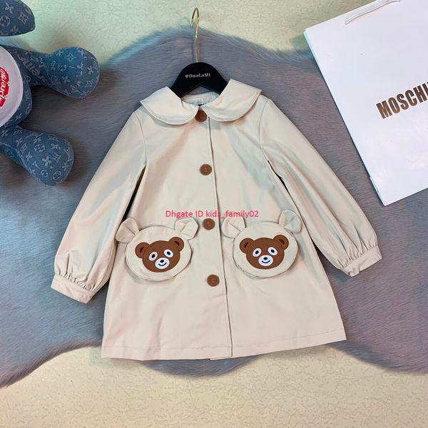 Cazadora para niñas ropa de diseñador para niños otoño nuevo collar de muñecas rompevientos lindo patrón de oso Abrigo en forma de A