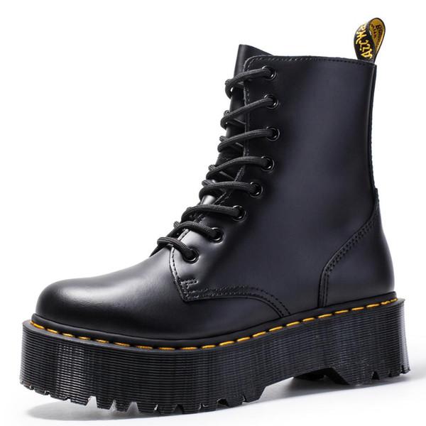 Size34-41 Chunky Motosiklet Boots Kadınlar Sonbahar 2019 Moda Yuvarlak Burun Dantel-up Combat Boots Bayan Ayakkabı için