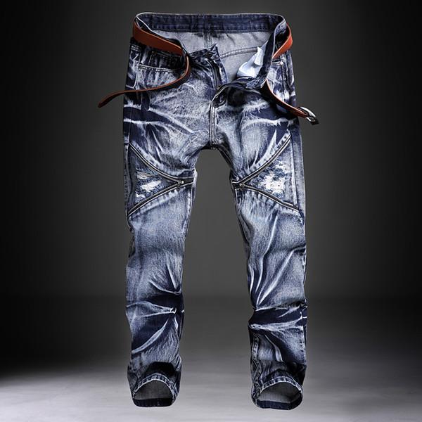 Jeans hombre masculino Jean Homme para hombre clásica modas de los hombres pantalones de mezclilla motorista Pantalón Slim Fit holgados pantalones rectos Diseñador rasgado