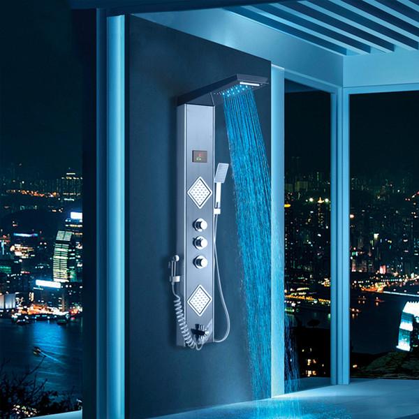 Black Grey LED Shower Panel Column Rain Waterfall Shower Head Digital Screen TEMP 3 Handles Mixer Tap Spray Bidet Shower