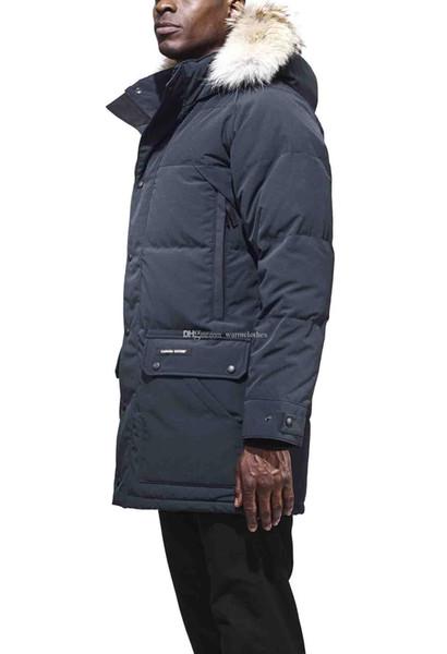 Marque Canada Designer sur le bras manteaux pour hommes Emory Parka en duvet d'oie blanche de haute qualité longue capuche en fourrure de mode veste chaude duvet noir armée gris