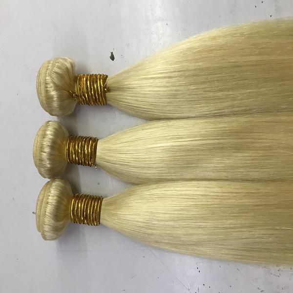 Blondes brasilianisches Haar der Farben-613 spinnt gerades Haar-Bündel, 100g Stück 3pcs ein Los, freies Verschiffen