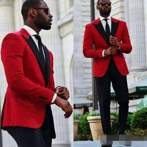 Сшитые на заказ красные смокинги жениха красивые мужские деловые костюмы деловые мужчины носят свадебные выпускные вечерние костюмы (куртка + брюки + галстук)