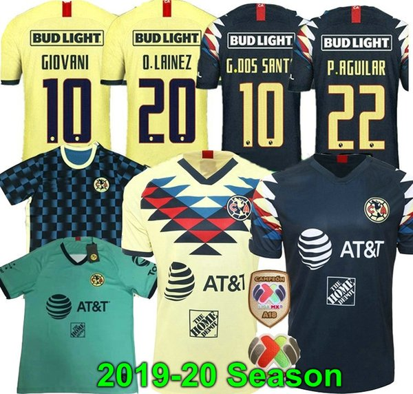 19 20 дома Америка желтый футбол Джерси R.SAMBUEZA G. Dos Santos P.AGUILAR 2019 2020 в гостях Мексика клуб третья зеленая футболка