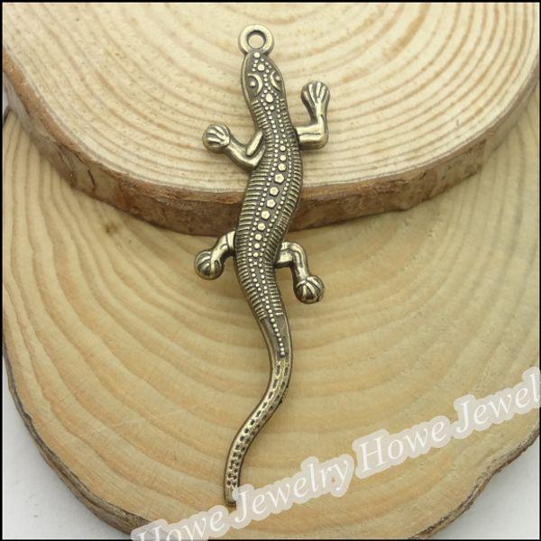 120 pcs Vintage Charms Lézard Pendentif Antique bronze Fit Bracelets Collier BRICOLAGE Bijoux En Métal Making