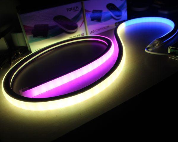 20m 24v digital direccionable led neon flex plano superior-vista cuadrada rgb neon-flex tiras 17x17mm pixel neon cuerda silicona controlador dmx