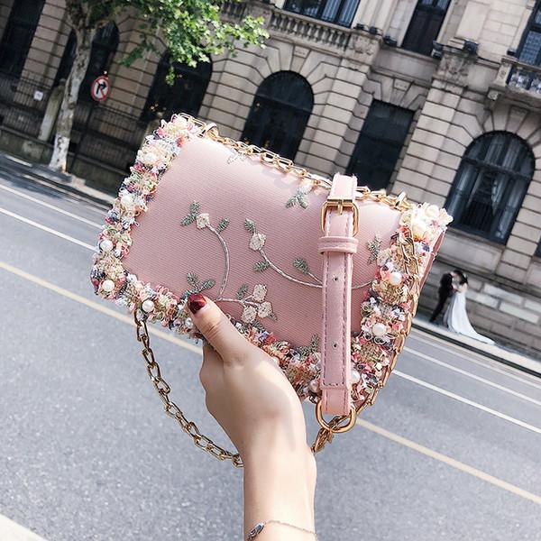 Dantel Çiçekler Kadın Çantası 2019 Yeni Çanta Yüksek Kalite Pu Deri Tatlı Kız Kare Çanta Çiçek Inci Zincir Omuz Messenger çanta