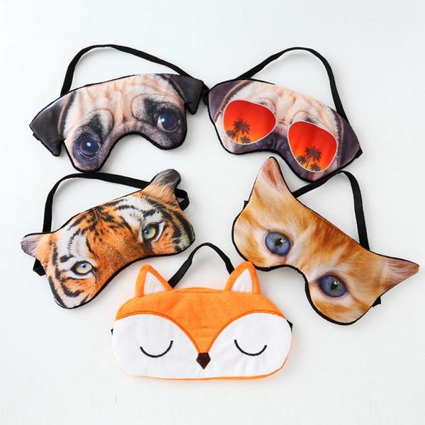 Cute Animal Sleep Eye Mask Женщины Маска Тени для век Природные Спящая Глаз Патч Женщины Мужчины Мягкие Портативные Повязка на глаз Путешествия Eyepatch RRA391