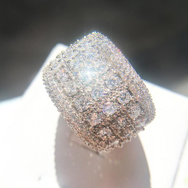 Mens Simulé Diamant Bagues De Fiançailles Bijoux Nouvelle Haute Qualité De La Mode Zircon Bague De Mariage En Argent Pour Les Femmes