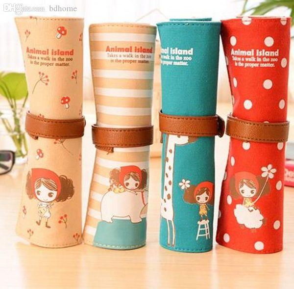 Wholesale-Kawaii Korean Style Curly Hair Girl Large Capacity Roll Pencil Bag Canvas Pencil Case/pen Pocket/Cosmetic Bag Retail K6453