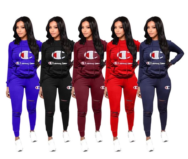 Champions Women 2 Piece Set Plus Size Outfits Hoodies+Leggings Tracksuit Shirts+Tights Sportswear Pullover Sports Suit Clothes 1155