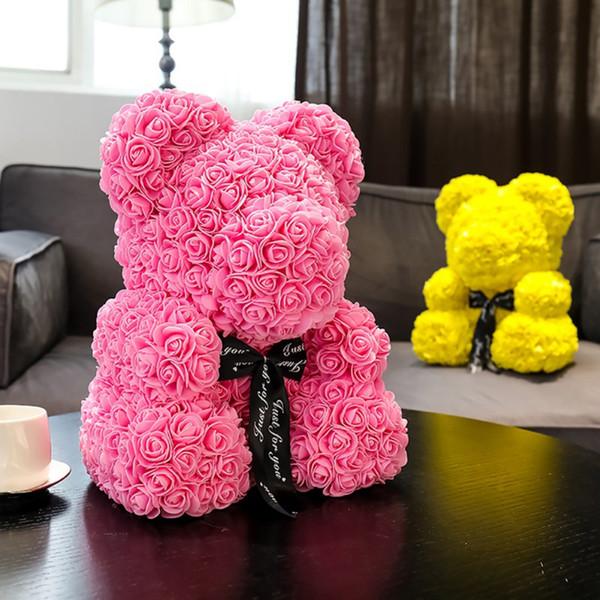 Прекрасный 25см Мишка Искусственная роза Цветы PE Роза Медведь для женщин Подруга День святого Валентина Дети Подарок на день рождения