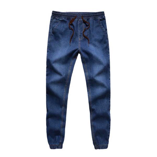 2017 New Mens Denim Jeans Men Drawstring Slim Fit Denim Joggers Mens Joggers Jeans Pant Men Stretch Elastic Jean Pencil Pants