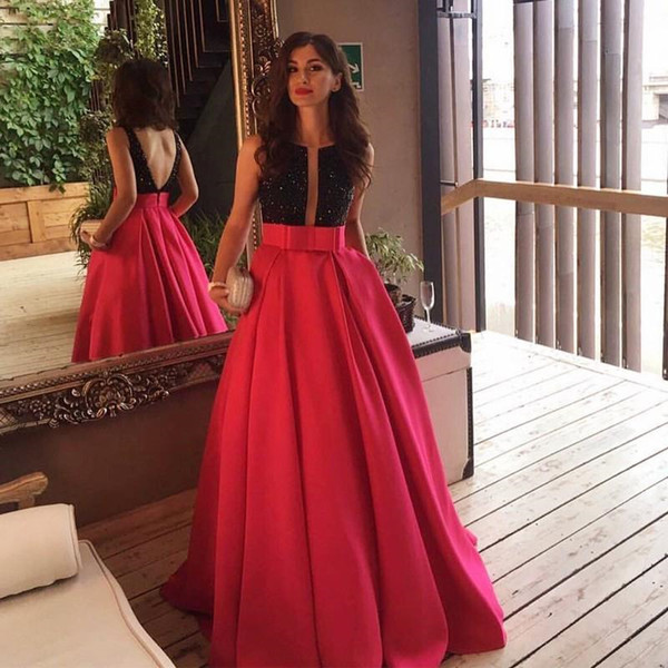 Latest Top Black Sequins Fuchsia Dress Long Prom Dresses 2019 Floor Length V Back Formal Evening Gowns With Bow Arabic Vestidos Party Dress