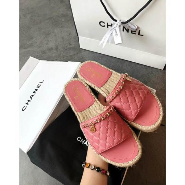 qizhucc / 2019 Women Print Patent Leather Brand Bom Dia Mule On-trend Slide Sandal Lady Canvas Letter Anatomic Leather Outsole Designer Slipper